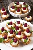 Raspberry tarts Stock Photo