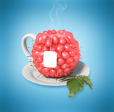 Raspberry tea cup. Healthy food. Raspberry drink Royalty Free Stock Photography