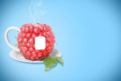 Raspberry tea cup. Healthy food. Raspberry drink Stock Image