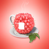 Raspberry tea cup. Healthy food. Raspberry drink Stock Photo