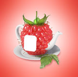 Raspberry tea cup. Healthy food. Raspberry drink Stock Images