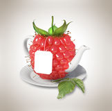 Raspberry tea cup Royalty Free Stock Images