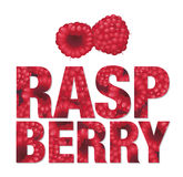 Raspberry text made from berries Stock Photography