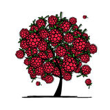 Raspberry tree, sketch for your design Royalty Free Stock Photos