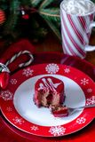 Raspberry truffle cake for christmas. A delicious raspberry truffle cake for christmas on a festive red and white snowflake plate with mug of hot chocolate. All Stock Image