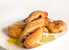 Raspberry twist pastries Stock Photo