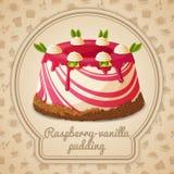 Raspberry vanilla pudding label stock illustration