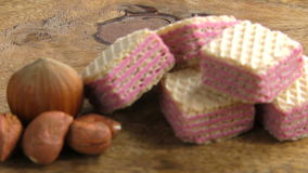 Raspberry wafers and hazelnuts stock video