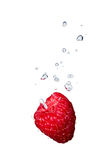 Raspberry in water with air bubbles. Raspberry falling into water, with air bubbles, in front of white background, union of the three things essential to live stock photos
