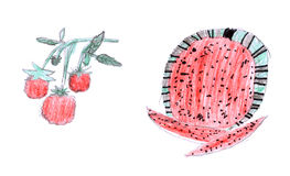 Raspberry and watermelon kid`s drawing Royalty Free Stock Photo