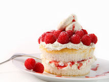 Raspberry and whip cream cupcakes on white Royalty Free Stock Image