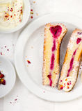 Raspberry and whipped cream pie. Royalty Free Stock Photography