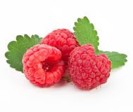 Raspberry on a white background. Fresh raspberry on a white background with leaves Royalty Free Stock Photos