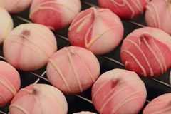 Raspberry and white chocolate meringues. On a cooling rack Royalty Free Stock Image