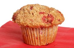 Raspberry Whole Wheat Muffin On Red Napkin Stock Image
