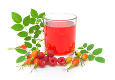 Raspberry, wild rose hips and tea Stock Photography