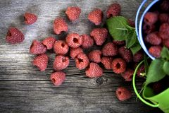 Raspberry on a wooden background Stock Photography