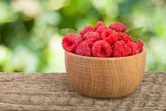 Raspberry in a wooden bowl on table with a blurry garden background.  Stock Photos
