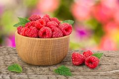 Raspberry in a wooden bowl on table with a blurry garden background.  Royalty Free Stock Photos
