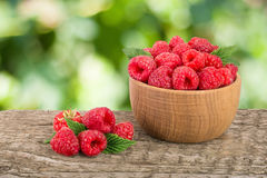 Raspberry in a wooden bowl on table with a blurry garden background.  Stock Image