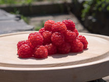 Raspberry on a wooden plate. Photograph of juicy raspberries positioned on a circular wooden plate Stock Photos