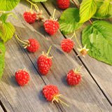 Raspberry on wooden table Royalty Free Stock Images