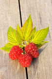 Raspberry on wooden table Royalty Free Stock Photo