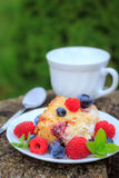 Raspberry yoghurt cake. With fresh raspberries, blueberries and mint. Delicious dessert Stock Images