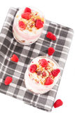 Raspberry yoghurt desserts from top Stock Images