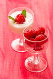 Raspberry Yoghurt. Over red background Stock Image