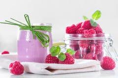 Raspberry yogurt Royalty Free Stock Images
