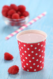 Raspberry yogurt cup Stock Photos