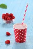 Raspberry yogurt cup with a straw royalty free stock photo