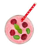 Raspberry yogurt with mint leaves isolated on white background. Top view.  Stock Photo