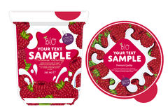 Raspberry Yogurt Packaging Design Template. Stock Images