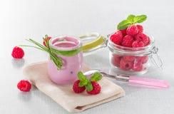 Raspberry yogurt. With ripe raspberries Stock Photos
