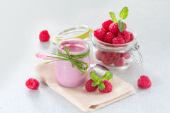Raspberry yogurt Royalty Free Stock Image