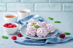 Raspberry Zephyr on a plate with fresh raspberries and mint royalty free stock photos