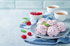 Raspberry Zephyr on a plate with fresh raspberries and mint stock image