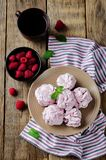 Raspberry Zephyr on a plate with fresh raspberries and mint. On a wood background. toning. selective focus Stock Image