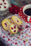 Raspberry roll cake Royalty Free Stock Photography