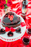 Raspbeverly Flourless Cake. Chocolate beer and wine pairings. Raspbeverly Flourless Cake with Zinfandel wine for Valentines day Royalty Free Stock Photos