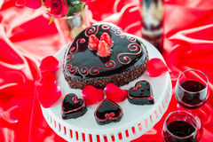 Raspbeverly Flourless Cake. Chocolate beer and wine pairings. Raspbeverly Flourless Cake with Zinfandel wine for Valentines day Royalty Free Stock Photo