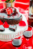 Raspbeverly Flourless Cake. Chocolate beer and wine pairings. Raspbeverly Flourless Cake with Zinfandel wine for Valentines day Royalty Free Stock Image