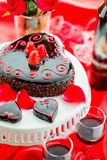 Raspbeverly Flourless Cake. Chocolate beer and wine pairings. Raspbeverly Flourless Cake with Zinfandel wine for Valentines day Royalty Free Stock Photography