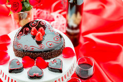 Raspbeverly Flourless Cake. Chocolate beer and wine pairings. Raspbeverly Flourless Cake with Zinfandel wine for Valentines day Stock Photos