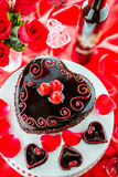 Raspbeverly Flourless Cake. Chocolate beer and wine pairings. Raspbeverly Flourless Cake with Zinfandel wine for Valentines day Royalty Free Stock Images