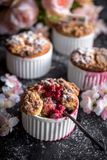 Raspebrries souffle served. On Valentine day background,selective focus stock photos
