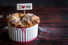 Raspebrries souffle served. On the wooden table with blank space,selective focus Royalty Free Stock Photos