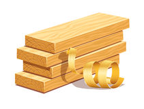 Rasped wooden boards and filings sawdusts Stock Image